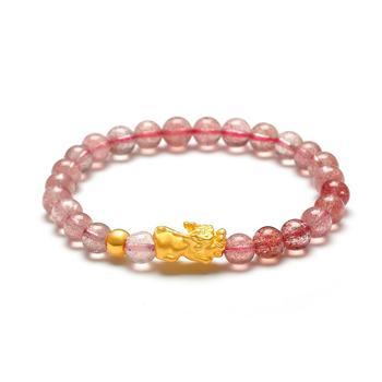 阿梵尼 草莓晶貔貅黄金手链