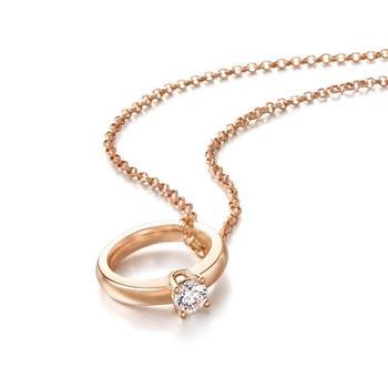 阿梵尼 18K金钻石项链女玫瑰金色