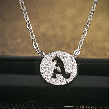 中国•E·weil 925银项链锆石A-N字母吊坠