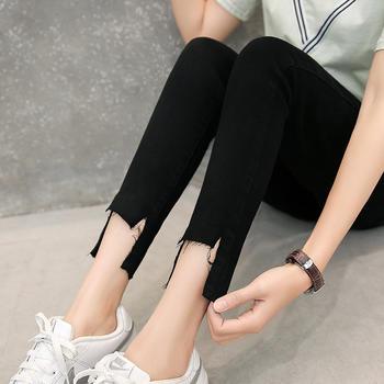 可奈丽莎新款?#36824;?#21017;脚口牛仔裤女