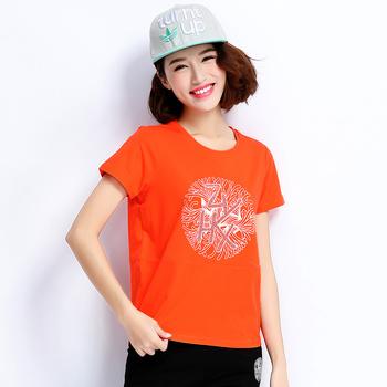 中国•自由呼吸韩版休闲短袖套装女桔红
