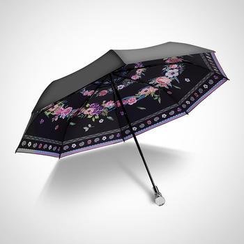 德国iRain三折绽放黑色太阳伞