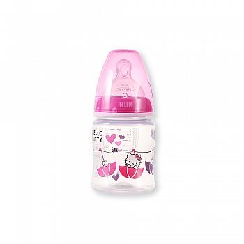 德国•NUK150ML宽口PP彩色Hello Kitty奶瓶(带初生型硅胶中圆孔奶嘴)