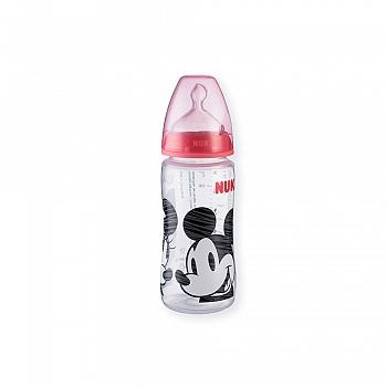 德国•NUK300ml宽口PP彩色迪士尼米奇奶瓶(带成长型硅胶中圆孔奶嘴)
