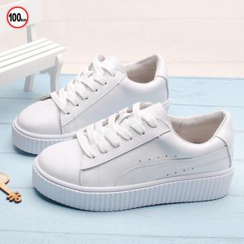 100KM猩猩猴 女鞋新款真皮厚底小白鞋女韩版百搭休闲鞋