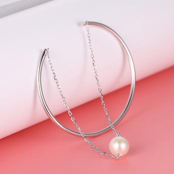 漂亮百合925银淡水珍珠流苏手镯 流韵