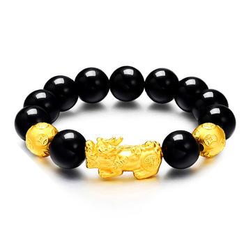 今上珠宝 貔貅转运珠黄金手链 14mm