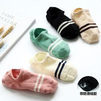 赛棉 5双装两杠隐形防滑女船袜棉袜夏季透气