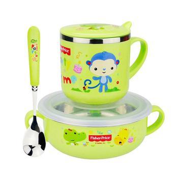 费雪儿童碗筷子勺子套装绿色