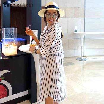 中国•韩国SZ宽松条纹棉麻衬衫连衣裙女