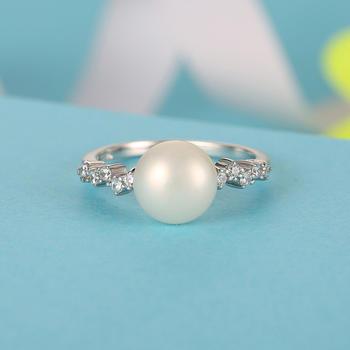漂亮百合925银淡水珍珠浪漫戒指 心动