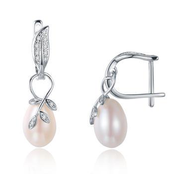 漂亮百合 925银淡水珍珠耳钉 树叶