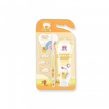 中国•红色小象儿童健齿口腔护理套装(5-12岁)(甜橙味)(儿童健齿牙膏60g+儿童防护牙刷1支)