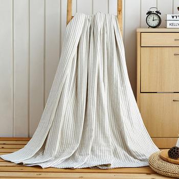 荻嘉茂 全棉日式条纹纱盖毯 白色