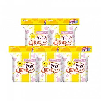 中国•Free·飞 日用超吸棉柔表层卫生巾5包 共40片