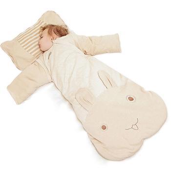欧孕新生儿天然彩棉婴儿一体睡袋