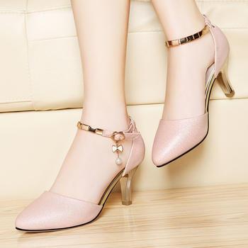 细跟女士高跟鞋夏一字扣百搭女鞋