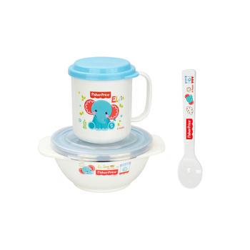 费雪儿童餐具饭碗勺水杯套装蓝色
