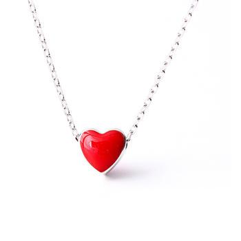IKEWA清新红色925纯银项链锁骨链