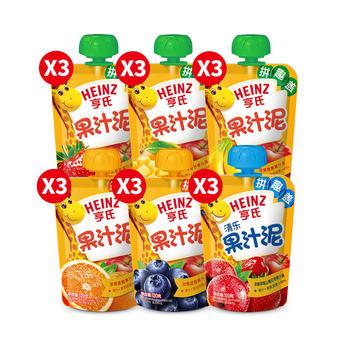 亨氏6种口味果汁泥18袋装