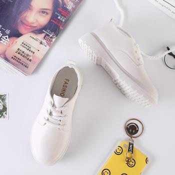 秋季新款PU厚底系带内增高小白鞋