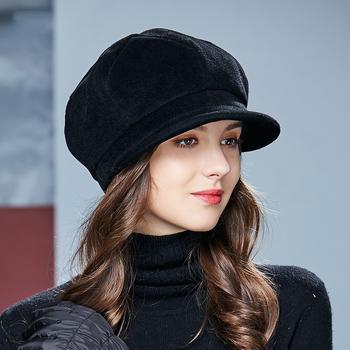 卡蒙帽子女羊毛呢帽子保暖鸭舌帽