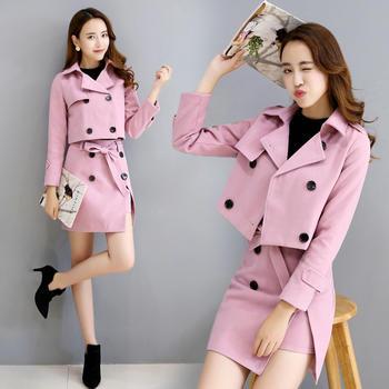 韩版女装秋冬时尚外套连衣裙套装