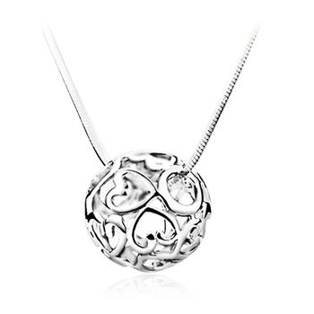 S925银镂空心形转运珠项链