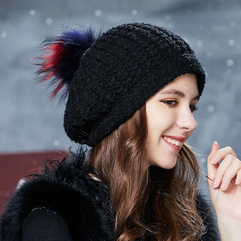 卡蒙貉子毛球帽子女冬季堆堆帽