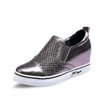 艾米奇牛皮镂空内增高休闲鞋