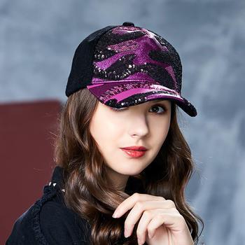 卡蒙秋季毛呢棒球帽女亮片帽子