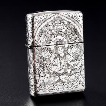 Zippo999纯银五面雕刻白度母