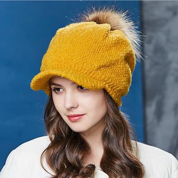 卡蒙针织貉子毛球帽子女堆堆帽