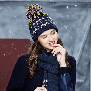 卡蒙毛线帽子针织围巾两件套女