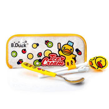 B.Duck儿童餐具组学习筷勺防尘袋