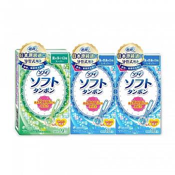 苏菲SOFY日本原装进口(轻柔卫生棉条(量普通日用型)10支*2包+轻柔卫生棉条(量多日用型)9支)