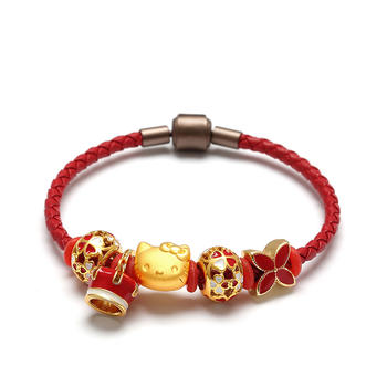 阿梵尼 3D硬金转运珠皮绳黄金手链