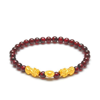 今上珠宝 貔貅石榴石黄金手链