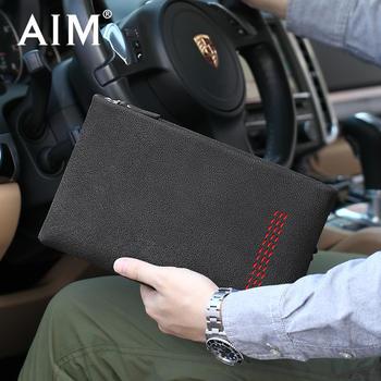 AIM男士手包潮个性牛皮信封包男