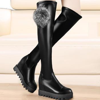 弹力靴厚底内增高长筒靴高筒靴子