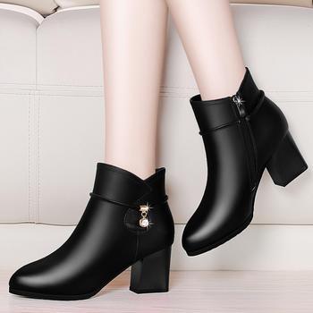 短靴女粗跟高跟马丁靴加绒高跟靴