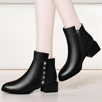短靴时尚粗跟短筒靴舒适保暖女靴