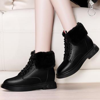 平底内增高加绒雪地靴加厚短筒靴
