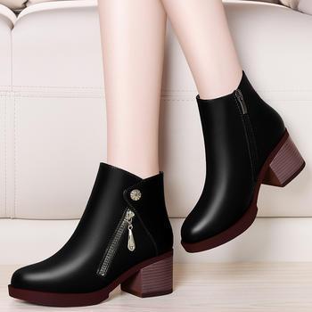 切尔西短靴粗跟百搭防水台马丁靴