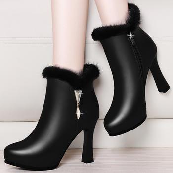 百搭细跟时装靴女加绒保暖短筒靴