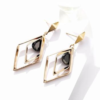 戴拉   925银针几何菱形仿水晶耳环你时尚长款耳夹耳饰