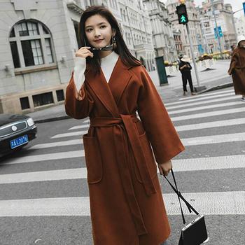 时尚显瘦系带风衣女毛呢外套