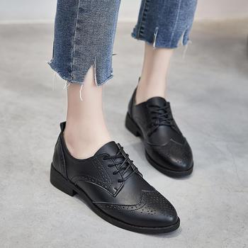 ZHR-牛皮粗跟布洛克英伦单鞋皮鞋