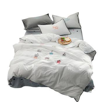 荻嘉茂床单床笠款四件套小植物白
