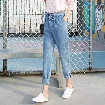 可奈丽莎2018新款牛仔裤女哈伦裤